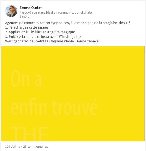 Le post d'Emma Oudot pour trouver son stage