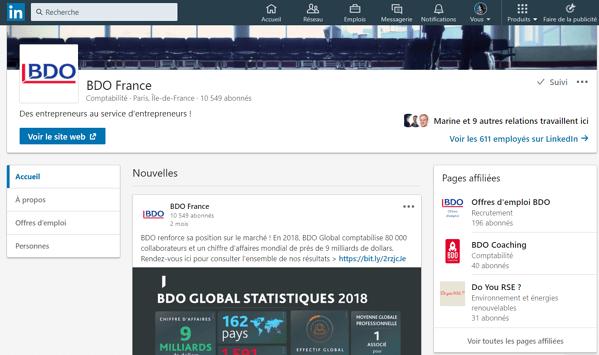 Page entreprise Linkedin