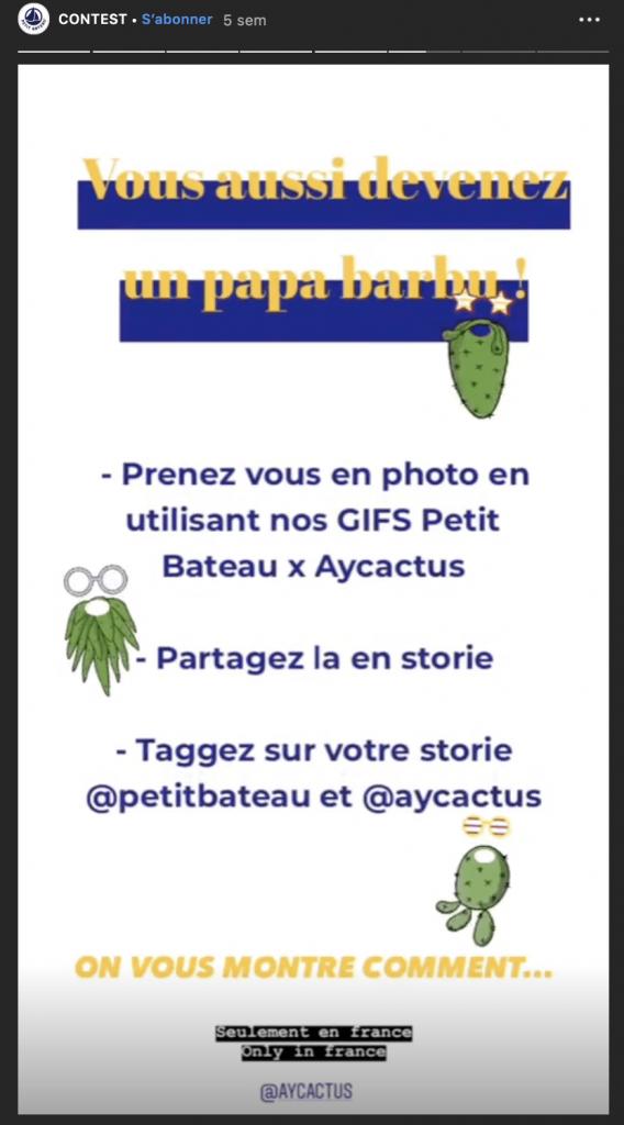 Jeu concours stories instagram
