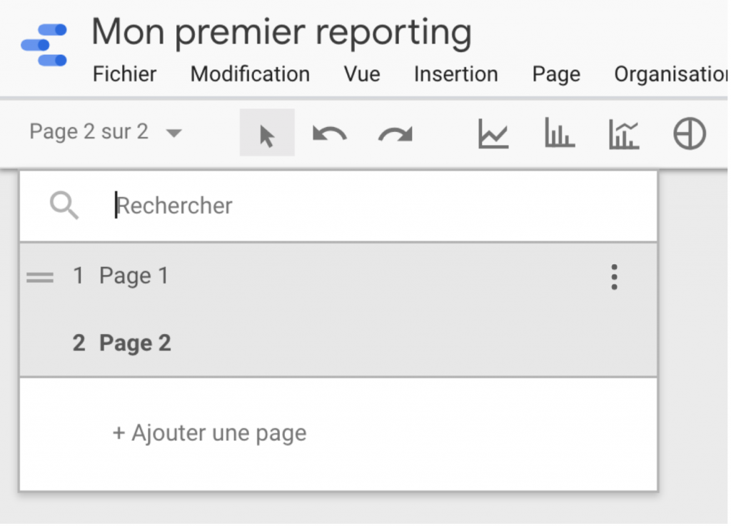 Dupliquer une page Google Data Studio
