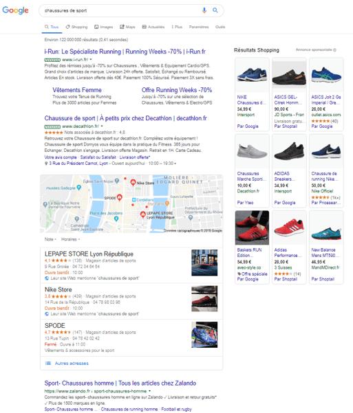 exemple SERP chaussures de sport