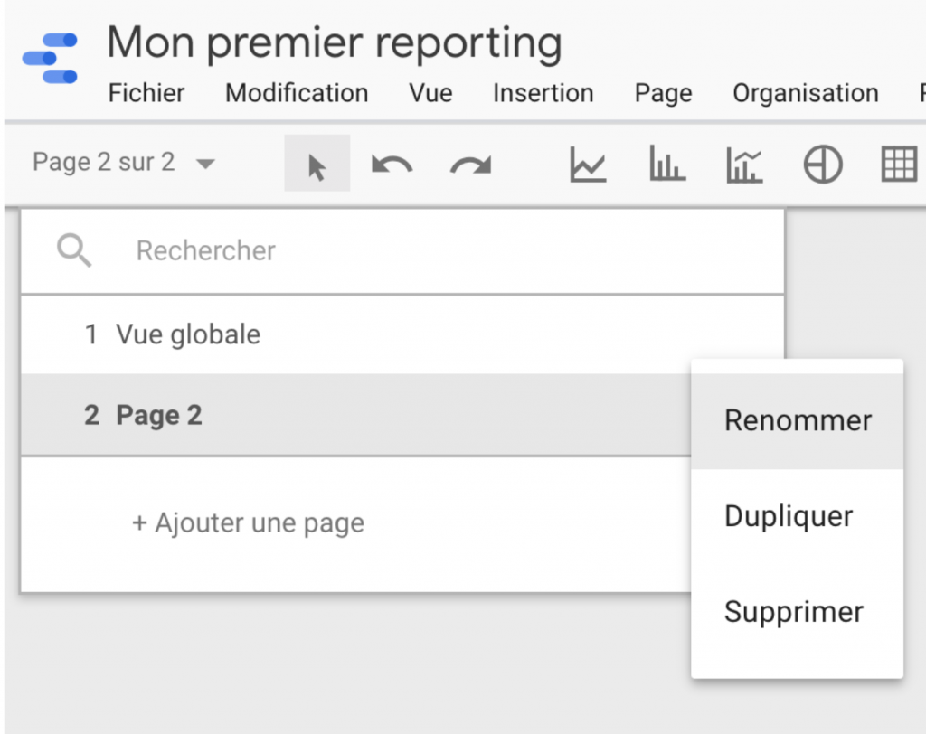 Renommer une page Google Data Studio